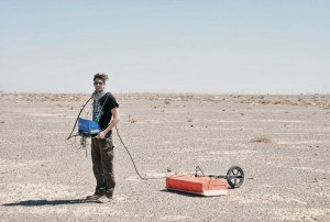 Andi doing GPR in the desert.
